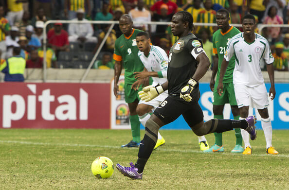 Goalkeeper Kennedy Mweene of Zambia scores a goal from the penalty spot during the 2013 African Cup of Nations match between Zambia and Nigeria from Mbombela Stadium on January 25, 2013 in Nelspruit, South Africa.  (Jan. 24, 2013 - Source: Gallo Images/Getty Images Europe)