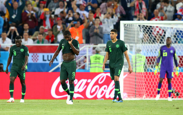 Oghenekaro Etebo, Odion Ighalo, Leon Balogun and Francis Uzoho stand dejected after conceding the opening goal during the 2018 FIFA World Cup Russia group D match between Croatia and Nigeria at Kaliningrad Stadium on June 16, 2018 in Kaliningrad, Russia.  (June 15, 2018 - Source: Alex Livesey/Getty Images Europe)