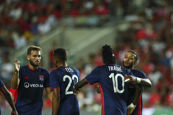 Bertrand Traore from Lyon celebrates scoring second goal with his team mates during the match between SL Benfica v Lyon for the International Champions Cup - Eusebio Cup 2018 at Estadio do Algarve on August 1, 2018 in Faro, Portugal.  (July 31, 2018 - Source: Getty Images Europe)