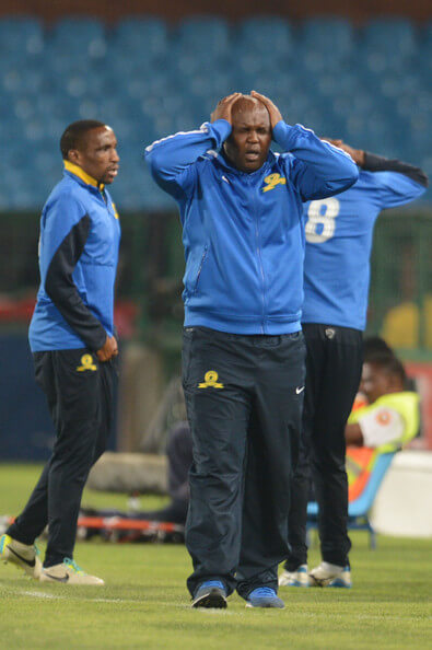 (SOUTH AFRICA OUT) Pitso Mosimane of Mamelodi Sundowns reacts during the Absa Premiership match between Mamelodi Sundowns and Maritzburg United at Loftus Stadium on December 20, 2013 in Pretoria, South Africa.  (Dec. 19, 2013 - Source: Gallo Images/Getty Images Europe)