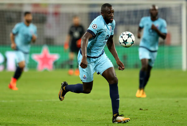 Moussa Marega of Porto runs with the ball during the UEFA Champions League group G match between RB Leipzig and FC Porto at Red Bull Arena on October 17, 2017 in Leipzig, Germany.  (Oct. 16, 2017 - Source: Martin Rose/Bongarts)