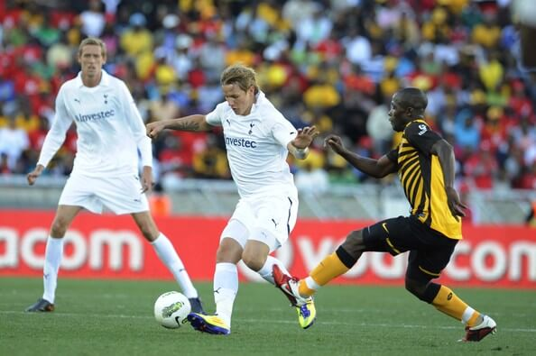 Roman Pavlyuchenko and Tinashe Nengomasha of Chiefs during the 2011 Vodacom Challenge match between Kaizer Chiefs and Tottenham Hotspur at Peter Mokaba Stadium on July 16, 2011 in Polokwane, South Africa.  (July 15, 2011 - Source: Gallo Images/Getty Images Europe)