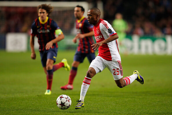 Thulani Serero (#25) of Ajax in action during the UEFA Champions League Group H match between Ajax Amsterdam and FC Barcelona at Amsterdam Arena on November 26, 2013 in Amsterdam, Netherlands.  (Nov. 25, 2013 - Source: Dean Mouhtaropoulos/Getty Images Europe)