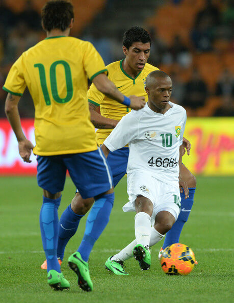 Thulani Serero of South Africa controls the ball during the International Friendly match between South Africa and Brazil at FNB Stadium on March 05, 2014 in Johannesburg, South Africa.  (March 4, 2014 - Source: Gallo Images/Getty Images Europe)
