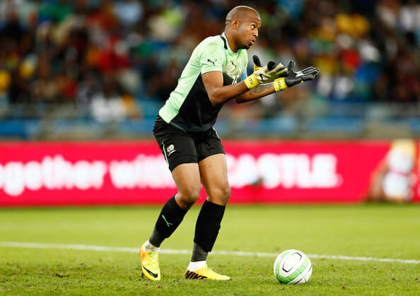 Itumeleng Khune, goal keeper of South Africa, makes a save during the 2013 African Cup of Nations Quarter-Final match between South Africa and Mali at Moses Mahbida Stadium on February 02, 2013 in Durban, South Africa.  (Feb. 1, 2013 - Source: Steve Haag/Getty Images Europe)