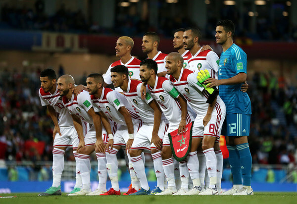 The Morocco players pose for a team photo prior to the 2018 FIFA World Cup Russia group B match between Spain and Morocco at Kaliningrad Stadium on June 25, 2018 in Kaliningrad, Russia.  (June 24, 2018 - Source: Francois Nel/Getty Images Europe)