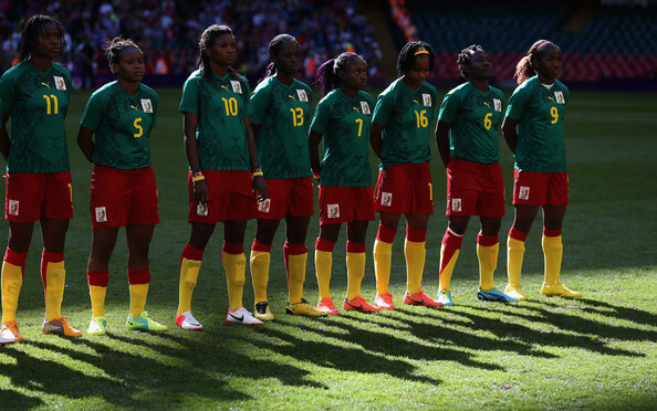 Cameroon line up before the Women's Football first round Group E Match between Great Britain and Cameroon on Day 1 of the London 2012 Olympic Games at Millennium Stadium on July 28, 2012 in Cardiff, Wales.  (July 27, 2012 - Source: Julian Finney/Getty Images Europe)