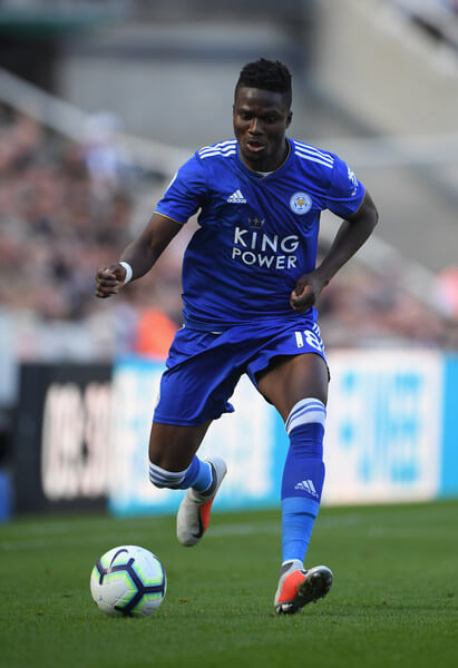 Leicester player Daniel Amartey in action during the Premier League match between Newcastle United and Leicester City at St. James Park on September 29, 2018 in Newcastle upon Tyne, United Kingdom.  (Sept. 28, 2018 - Source: Stu Forster/Getty Images Europe)