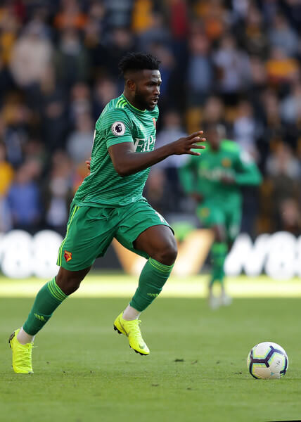 Isaac Success of Watford in action during the Premier League match between Wolverhampton Wanderers and Watford FC at Molineux on October 20, 2018 in Wolverhampton, United Kingdom.  (Oct. 19, 2018 - Source: Getty Images Europe)