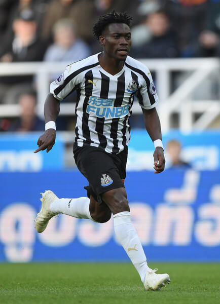 Newcastle player Christian Atsu in action during the Premier League match between Newcastle United and Leicester City at St. James Park on September 29, 2018 in Newcastle upon Tyne, United Kingdom.  (Sept. 28, 2018 - Source: Stu Forster/Getty Images Europe)