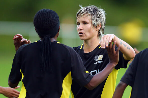 (L-R) Sanah Mollo of South Africa celebrates the third goal with Janine van Wyk during the women's friendly match between South Africa and Bayer Leverkusen at Sport School Hennef on July 12, 2012 in Recklinghausen, Germany.  (July 11, 2012 - Source: Christof Koepsel/Getty Images Europe)