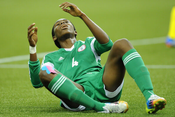 Asisat Oshoala of Nigeria reacts after missing a breakaway attempt during the FIFA Women's U-20 Final against Germany at Olympic Stadium on August 24, 2014 in Montreal, Quebec, Canada. Photo by Richard Wolowicz/Getty Images)  (Aug. 23, 2014 - Source: Richard Wolowicz/Getty Images North America)