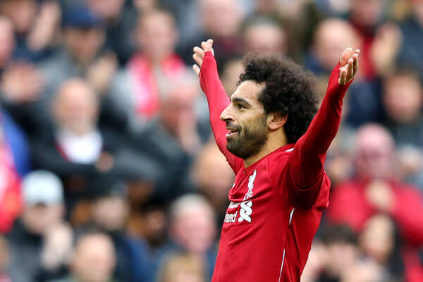 Mohamed Salah of Liverpool celebrates after scoring his team's third goal during the Premier League match between Liverpool FC and Southampton FC at Anfield on September 22, 2018 in Liverpool, United Kingdom.  (Sept. 21, 2018 - Source: Alex Livesey/Getty Images Europe)