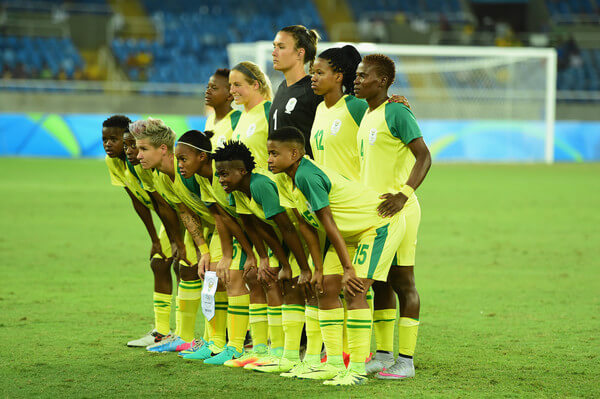 South Africa line up prior to to the Women's Group E first round match between South Africa and China PR on Day 1 of the Rio 2016 Olympic Games at the Olympic Stadium on August 6, 2016 in Rio de Janeiro, Brazil.  (Aug. 5, 2016 - Source: Harry How/Getty Images South America)
