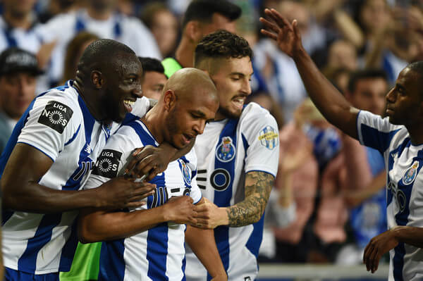 Moussa Marega celebrates with Yacine Brahimi of FC Porto after scores the second goal during the Primeira Liga match between FC Porto and Feirense at Estadio do Dragao on May 6, 2018 in Porto, Portugal.  (May 5, 2018 - Source: Octavio Passos/Getty Images Europe)