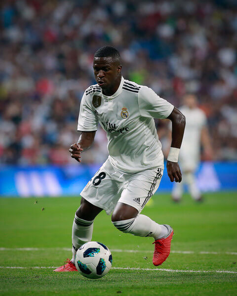 Vinicius Junior of Real Madrid CF controls the ball during the Santiago Bernabeu Trophy between Real Madrid CF and AC Milan at Estadio Santiago Bernabeu on August 11, 2018 in Madrid, Spain.  (Aug. 10, 2018 - Source: Gonzalo Arroyo Moreno/Getty Images Europe)