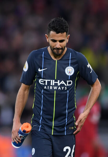 Riyad Mahrez of Manchester City looks dejected after the Premier League match between Liverpool FC and Manchester City at Anfield on October 7, 2018 in Liverpool, United Kingdom.  (Oct. 6, 2018 - Source: Laurence Griffiths/Getty Images Europe)