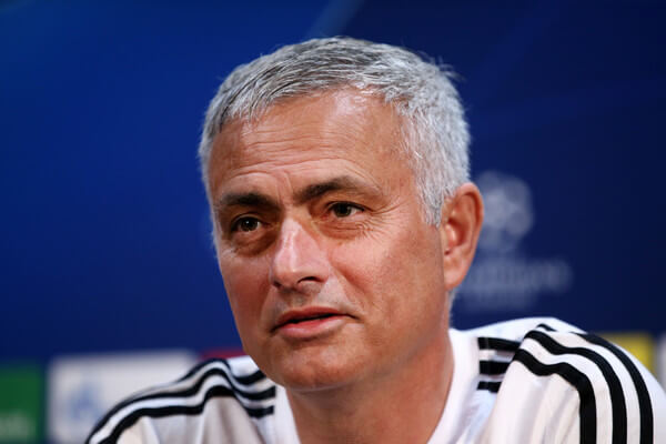 Jose Mourinho, Manager of Manchester United looks on during a press conference ahead of their UEFA Champions League Group H match against Juventus at Aon Training Complex on October 22, 2018 in Manchester, England.  (Oct. 21, 2018 - Source: Jan Kruger/Getty Images Europe)