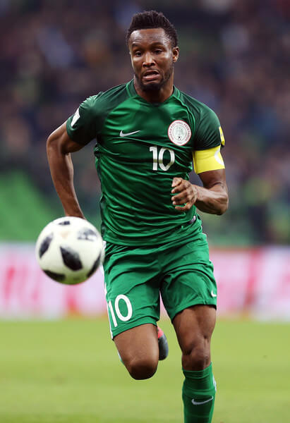 John Obi Mikel of Nigeria drives the ball during an international friendly match between Argentina and Nigeria at Krasnodar Stadium on November 14, 2017 in Krasnodar, Russia.  (Nov. 14, 2017 - Source: Epsilon/Getty Images Europe)
