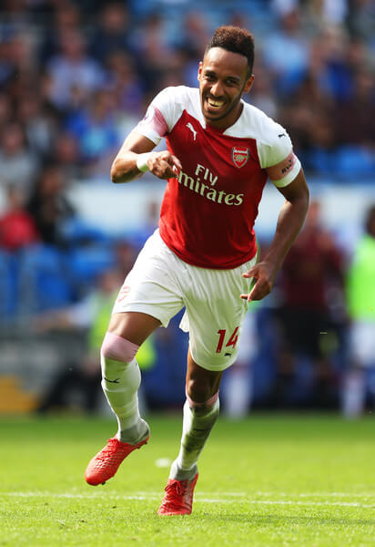 Pierre-Emerick Aubameyang of Arsenal celebrates after scoring his team's second goal during the Premier League match between Cardiff City and Arsenal FC at Cardiff City Stadium on September 2, 2018 in Cardiff, United Kingdom.  (Sept. 1, 2018 - Source: Catherine Ivill/Getty Images Europe)