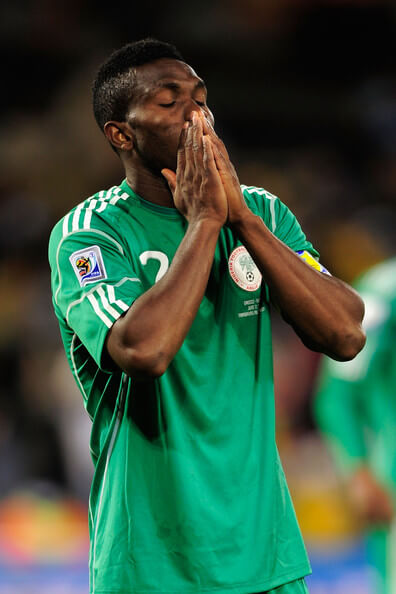 Joseph Yobo of Nigeria is dejected after the 2010 FIFA World Cup South Africa Group B match between Greece and Nigeria at the Free State Stadium on June 17, 2010 in Mangaung/Bloemfontein, South Africa.  (June 16, 2010 - Source: Stuart Franklin/Getty Images Europe)