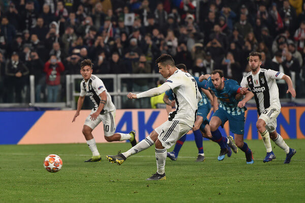 Cristiano Ronaldo of Juventus scores a penalty (3-0) during the UEFA Champions League Round of 16 Second Leg match between Juventus and Club de Atletico Madrid at Allianz Stadium on March 12, 2019 in Turin, .  (March 11, 2019 - Source: Getty Images Europe)