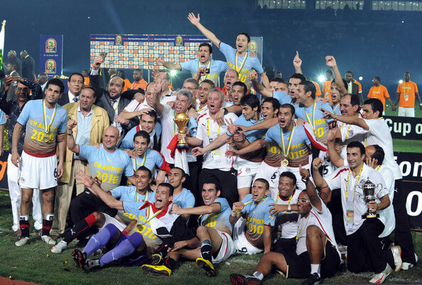 Egyptian players celebrate winning after the Africa Cup of Nations final match between Ghana and Egypt from Universitaria Stadium on January 31, 2010 in Luanda, Angola.  (Jan. 30, 2010 - Source: Gallo Images/Getty Images Europe)