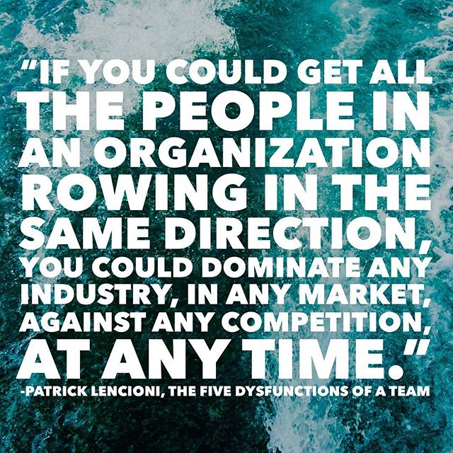 As I look ahead to my last river trip of the season later this week, I'm reminded of Patrick Lencioni's epic quote about teams rowing in the same direction. It highlights the importance of alignment, shared vision, and collaboration at every scale. • I'd also emphasize the importance of rowing in the *right* direction. Which you may not know at every moment and might have to change along the way. But making sure that the direction aligns with your shared vision and mission will help you reach your true goals. • How do you support your team all rowing in the same direction? Do you have a clear point on the horizon or in the rapid that your team is pushing toward? Are they equipped with the tools they need to succeed? Will you know when you reach your destination? • Share your thoughts in the comments below, and tag a friend who's a great rower. • Also, check out the link in my bio for 16 books your startup needs in its library, including Lencioni's Five Dysfunctions of a Team! • #teamwork #river #rowing #collaboration #fivedysfunctionsofateam #lencioni #teamdynamics #vision #mission #purpose #domination