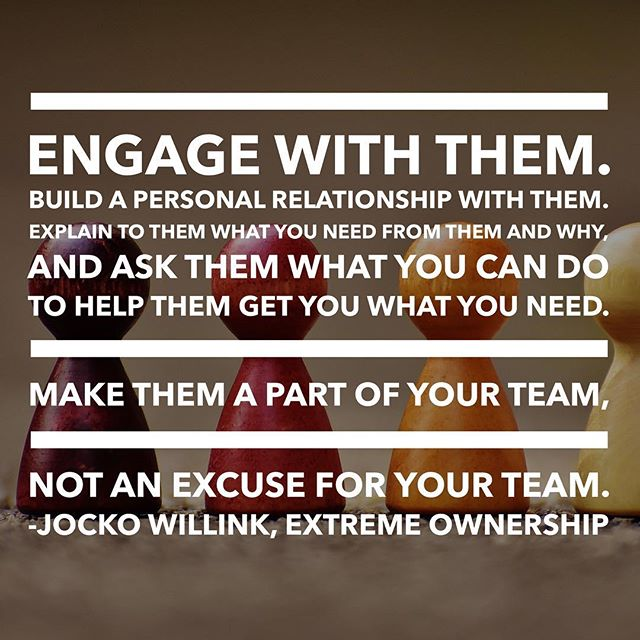 "What do you do when you're having trouble collaborating with a partner, a vendor, or even another team within your own organization? Too often we take the easy route by beginning to make assumptions about dysfunction or poor management or ineptitude. Instead, how might we make these ""external"" teams a part of our team, rather than an excuse for our team? • Try this simple reframe: instead of seeing such collaborators as external, flip your perspective and begin viewing them as members of your own team. How would you manage the collaboration differently? What type of collaborative behavior would you model? • Change the narrative from, ""I can't wait until this is over"" to ""Let's set ourselves up to be excited for next time."" • #collaboration #partnership #extremeownership #teamwork #reframe"