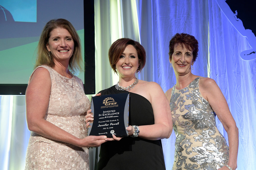 2018 CFEF INVESTED IN EXCELLENCE AWARD - JENNIFER POWELL, LEON COUNTYPresented by Mary Chance, President of the Consortium of Florida Education Foundations, and Maureen Wilt, Florida Power & Light