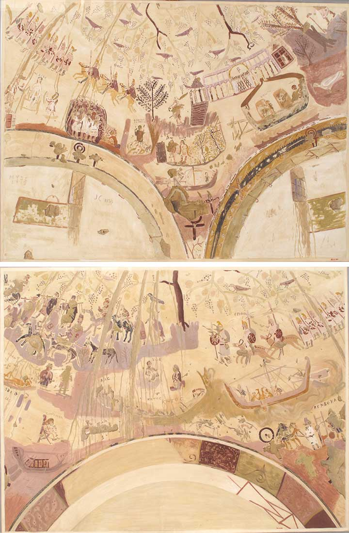 Charles K. Wilkinson. Facsimiles of the dome painting of the Chapel of Exodus, Bagawat Necropolis, Kharga Oasis. Byzantine Egypt, 4th century A.D.  Top : Tempera on paper, 20 1/2 x 27 3/4 in. (52.1 x 70.5 cm). The Metropolitan Museum of Art, New York, Rogers Fund, 1930 (30.4.141).  Bottom : Tempera on paper, 19 7/8 x 26 1/4 in. (50.5 x 66.5 cm). The Metropolitan Museum of Art, New York, Rogers Fund, 1930 (30.4.226)