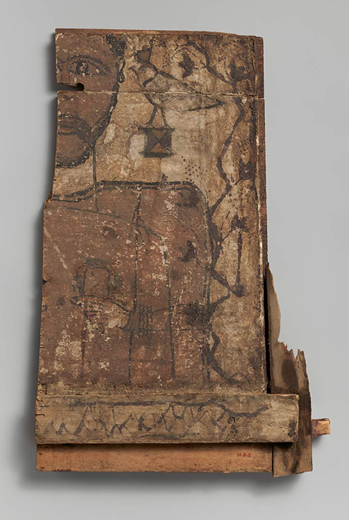 Portrait of man on half-painted panel , 2nd–4th century A.D. Roman or late Roman. From Tomb LXVI, Bagawat Necropolis, Kharga Oasis, Byzantine Egypt, Coptic. Wood, paint, 16 1/2 x 11 x 2 in. (41.9 x 27.9 x 5.1 cm). The Metropolitan Museum of Art, New York, Rogers Fund, 1931 (31.8.2)