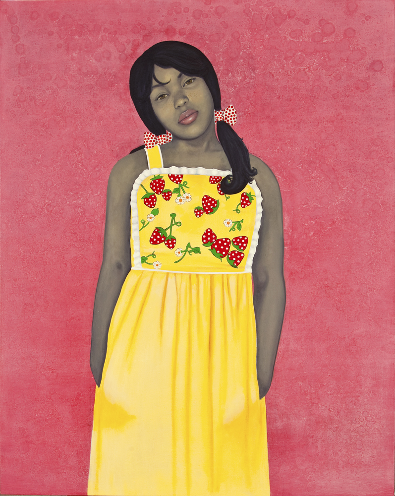 Amy Sherald,  They call me Redbone but I'd rather be Strawberry Shortcake , 2009; Oil on canvas, 54 x 43 in.; National Museum of Women in the Arts, Gift of Steven Scott, Baltimore, in honor of the artist and the 25th Anniversary of NMWA; © Amy Sherald