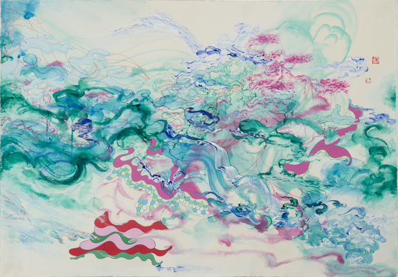 Jiha Moon,  Cascade Crinoline , 2008; Ink and acrylic on hanji paper, 41 x 59 in.; National Museum of Women in the Arts, Gift of the Georgia State Committee of NMWA; © Jiha Moon.