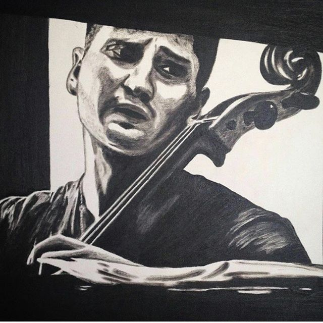 Such a pleasure to receive this artistic present 🎻 Thanks, Sveta @mydoubles  #cello #art #drawing