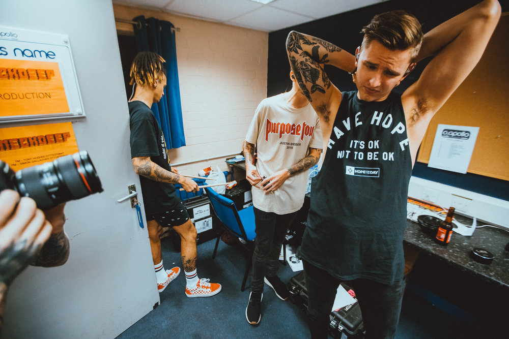 Neck Deep before they go on stage at the Manchester date of their EU/UK tour. Photo: Elliott Ingham .