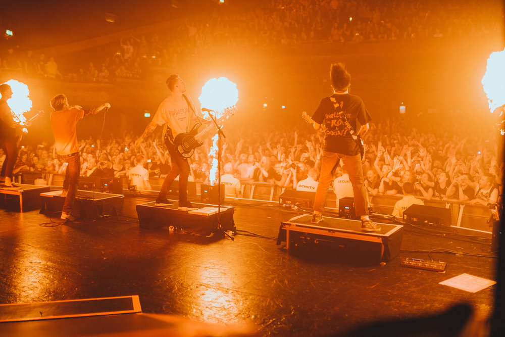 Neck Deep performing at the Manchester date of their EU/UK tour.  Photo:  Elliott Ingham .