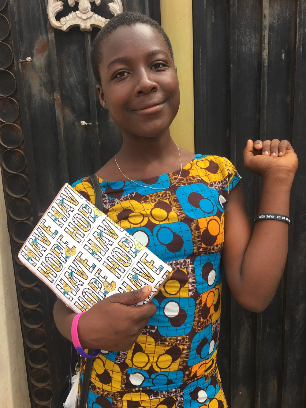 Nancy's Ghanaian guide and companion, Apene, repping HFTD. Photo: Nancy Bartosz