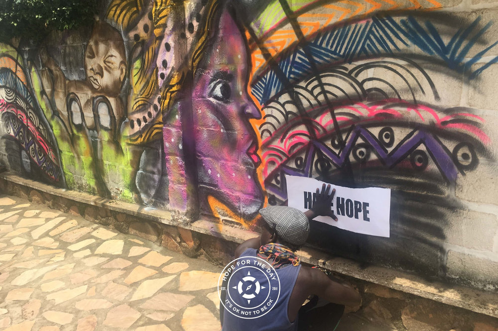 Spreading the message of hope in downtown Kigali. Photo: Nancy Bartosz