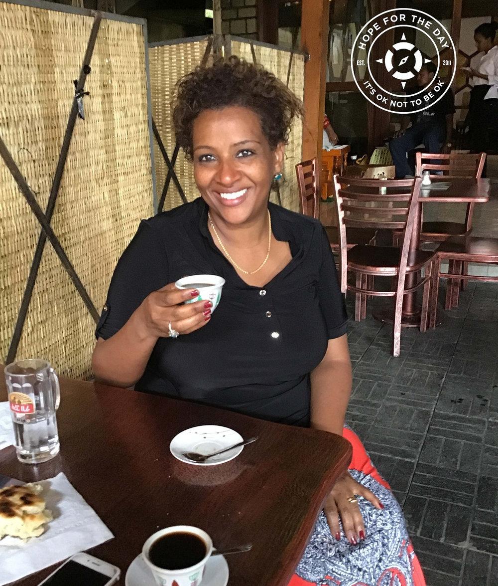 Enjoying coffee and conversation in Addis Ababa. Photo: Nancy Bartosz