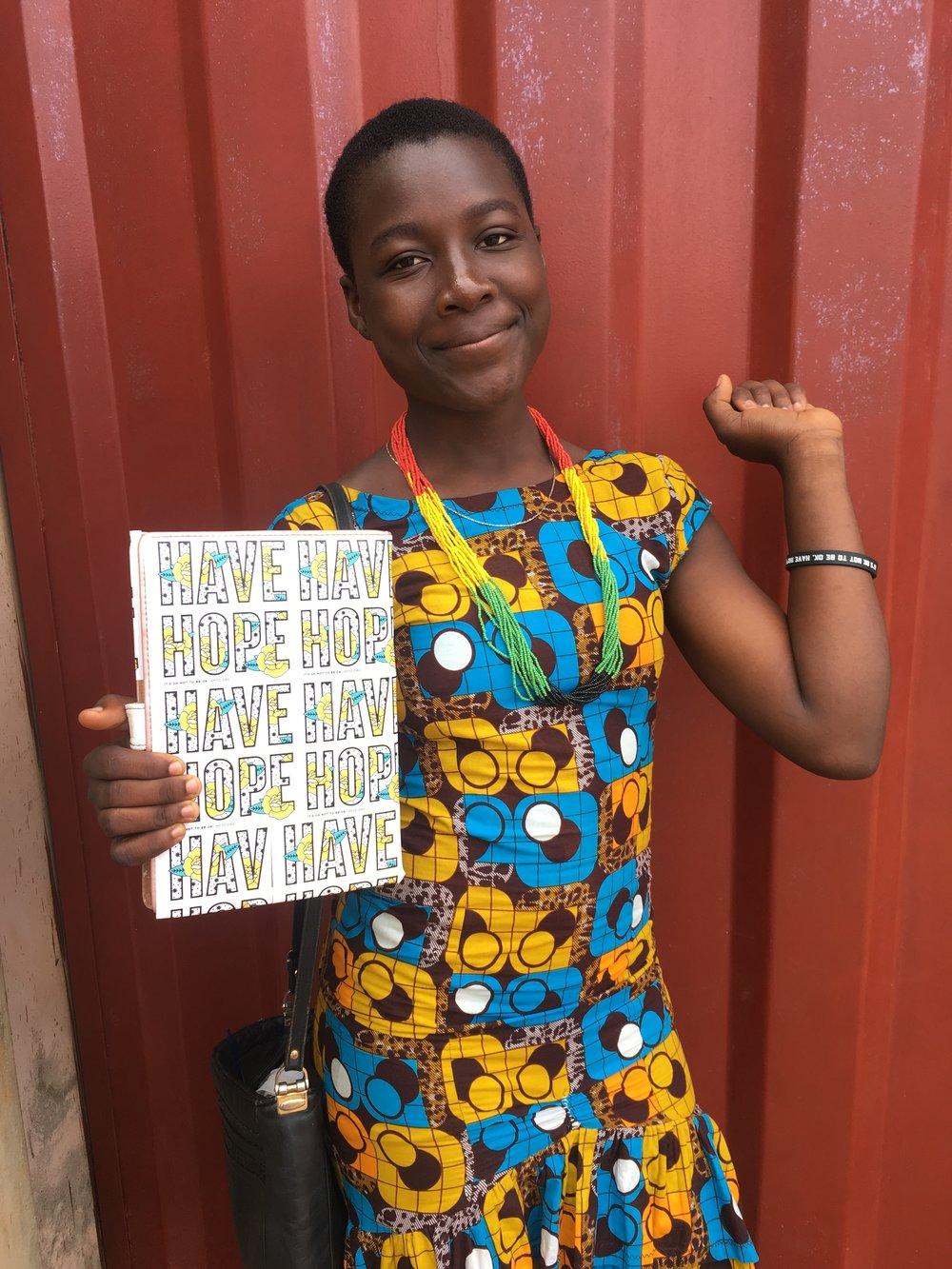 Apene with HFTD gear in Ghana. Photo: Nancy Bartosz