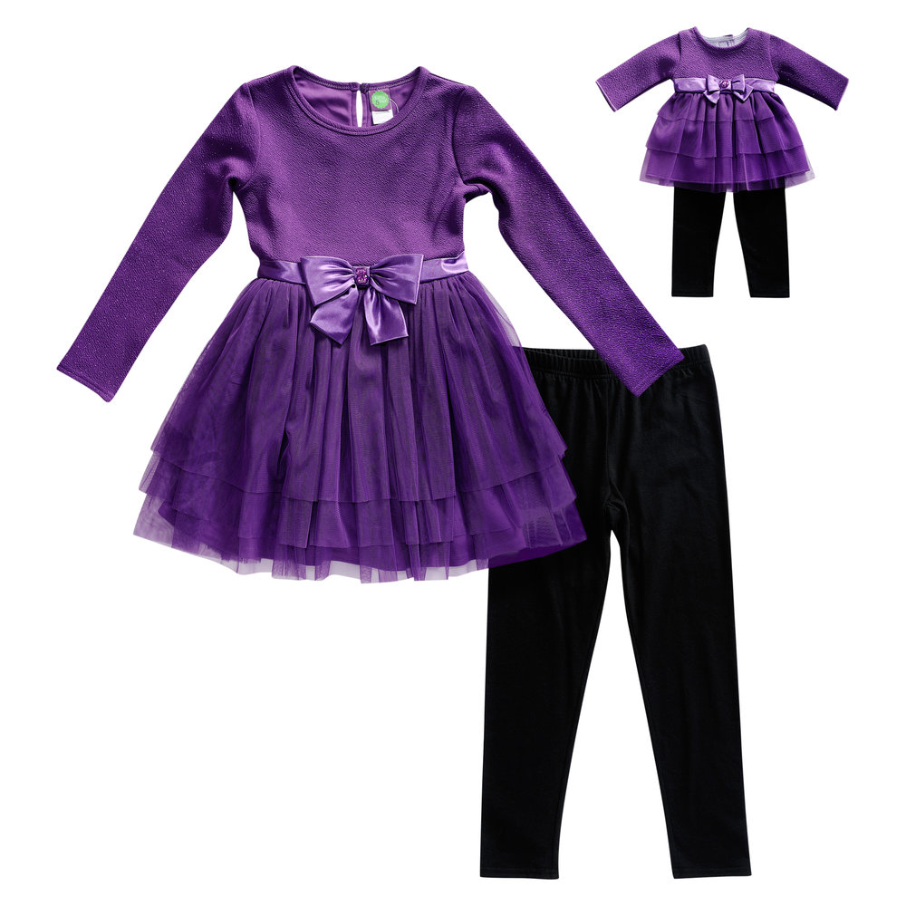 Purple Ruffle Legging Set with Matching Doll Outfit - Pretty girls like pretty things and this is pretty.$42.00
