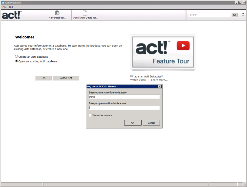 Login to Act! using the same user name as above,   Do NOT enter password , leave password blank.  Choose  OK  to proceed.