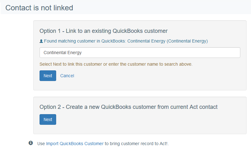 Link or create QuickBooks customer