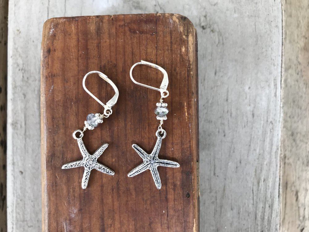 Sea Star Earrings : Make these beautiful sea-inspired earrings. Learn to wire wrap jointed earrings. This class can be challenging for beginner wire wrapping students. $35 for one hour, plus supplies.