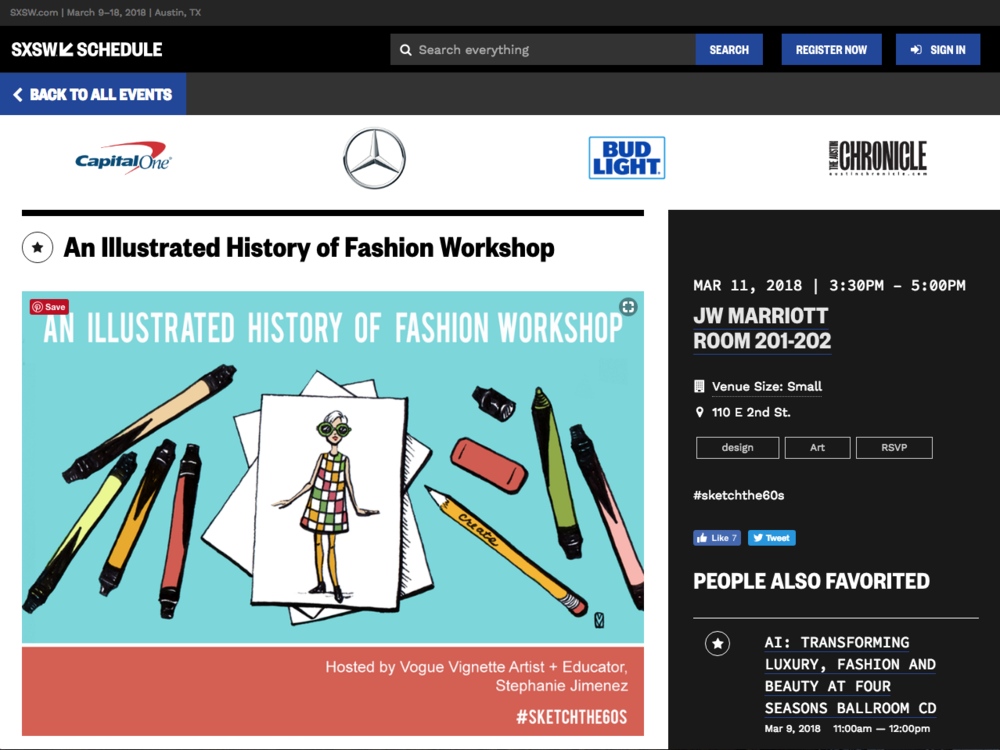 "SXSW 2018 - ""The ""Illustrated History of Fashion Workshop"" takes you through a visual journey of the hottest fashion of the '60's and its relationship to the social and cultural happenings of the era. """