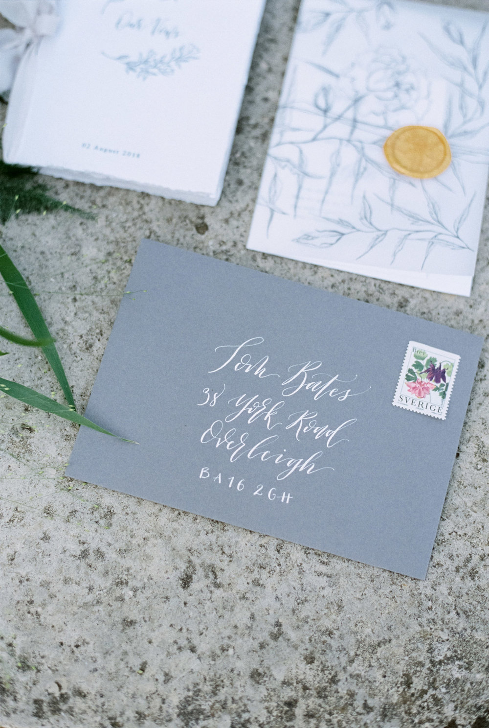 Love this white ink on grey envelopes.