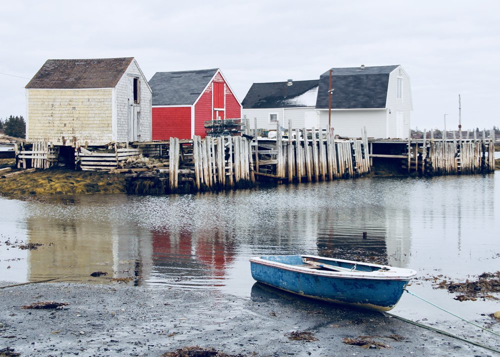 Old fishing shacks at the Point, Blue Rocks, Nova Scotia - Still a working fishing village.