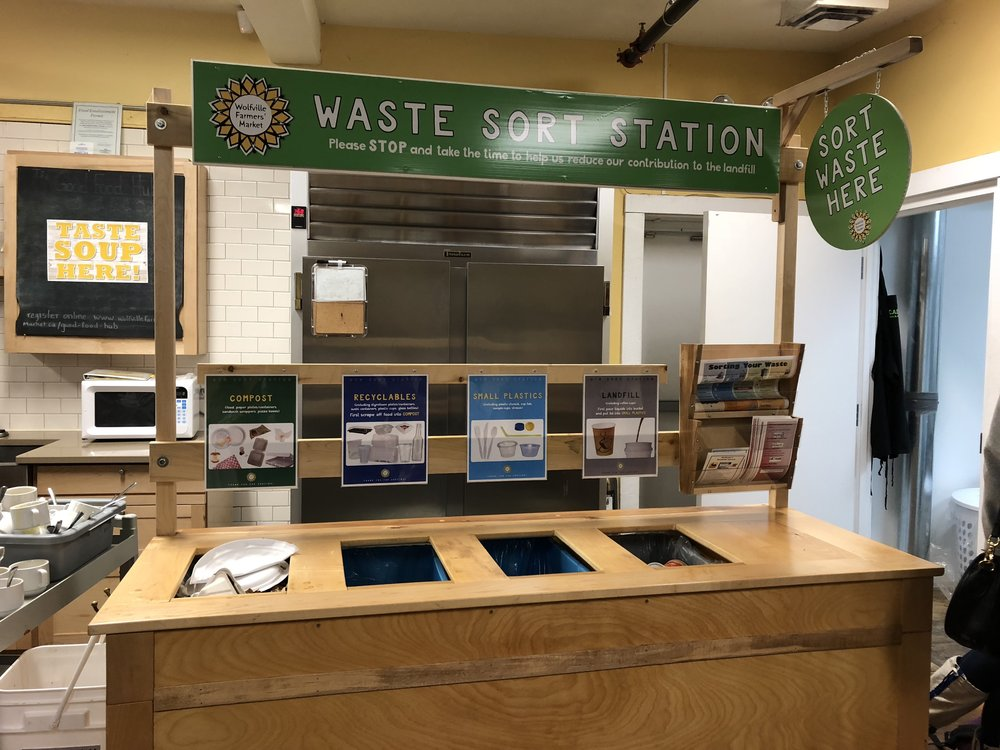 Not only do we recycle at home we recycle everywhere, Restaurants, parks, church, street side. Here's the waste sort station at the Wolfville Farmer's Market. Anywhere you might toss trash, there will be at least 3 bins to choose from.