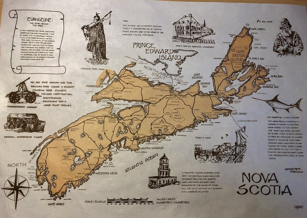 A fun little map of Nova Scotia. It's actually a placemat from The South Shore Fish Shack.... say that fast 3 times. The Fish Shack is a great seafood restaurant in Lunenburg.